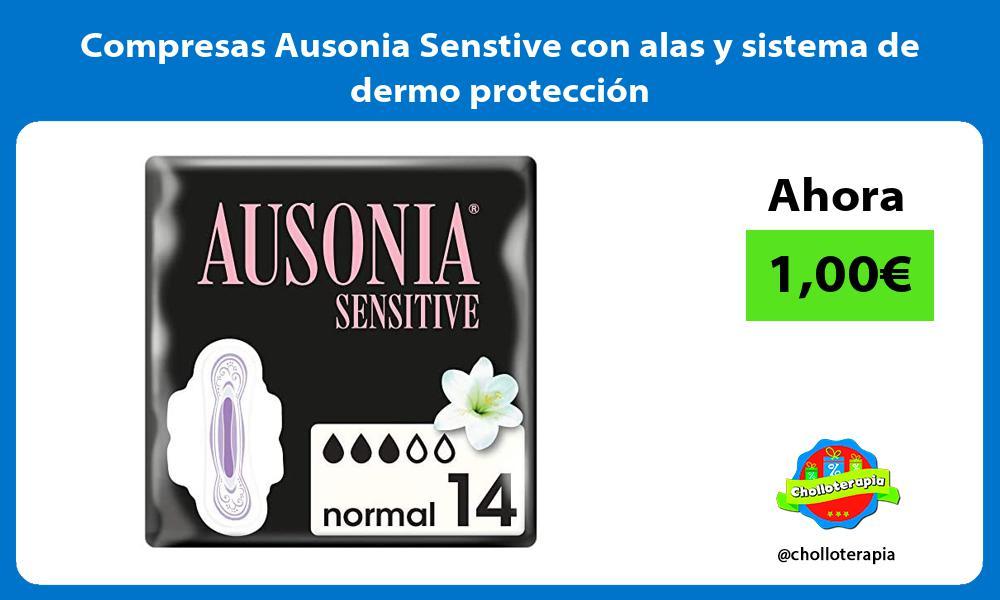 Compresas Ausonia Senstive con alas y sistema de dermo protección