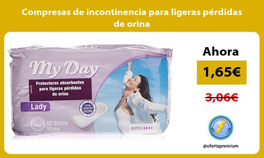 Compresas de incontinencia para ligeras pérdidas de orina