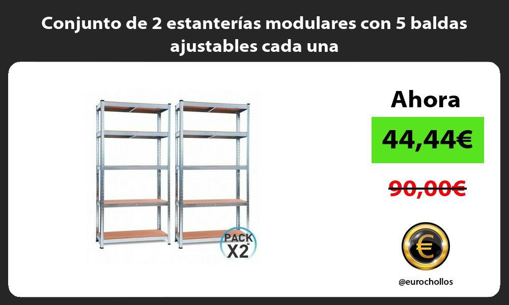Conjunto de 2 estanterías modulares con 5 baldas ajustables cada una