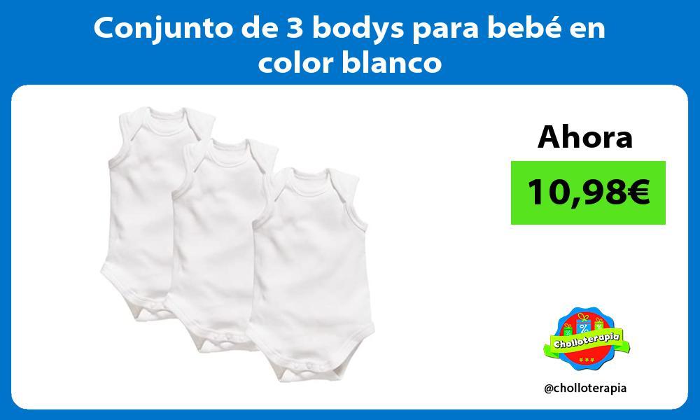 Conjunto de 3 bodys para bebé en color blanco