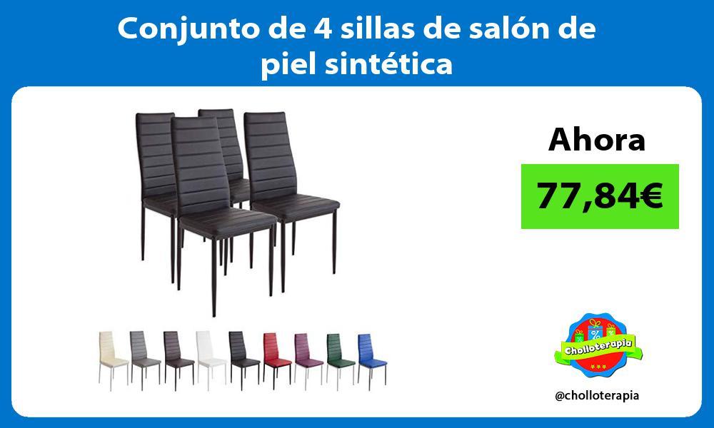 Conjunto de 4 sillas de salón de piel sintética