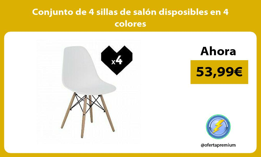 Conjunto de 4 sillas de salón disposibles en 4 colores