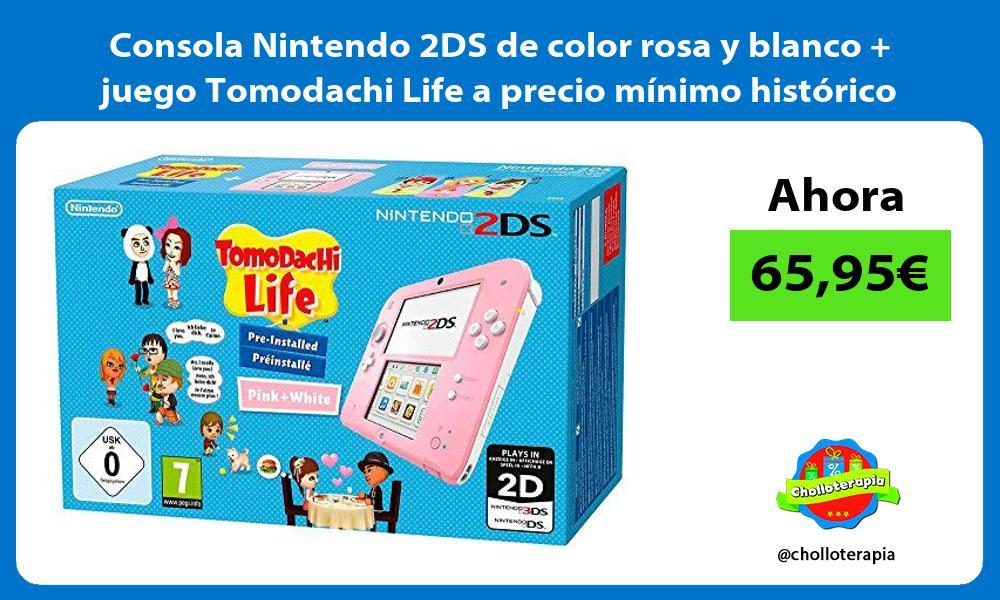 Consola Nintendo 2DS de color rosa y blanco juego Tomodachi Life a precio mínimo histórico