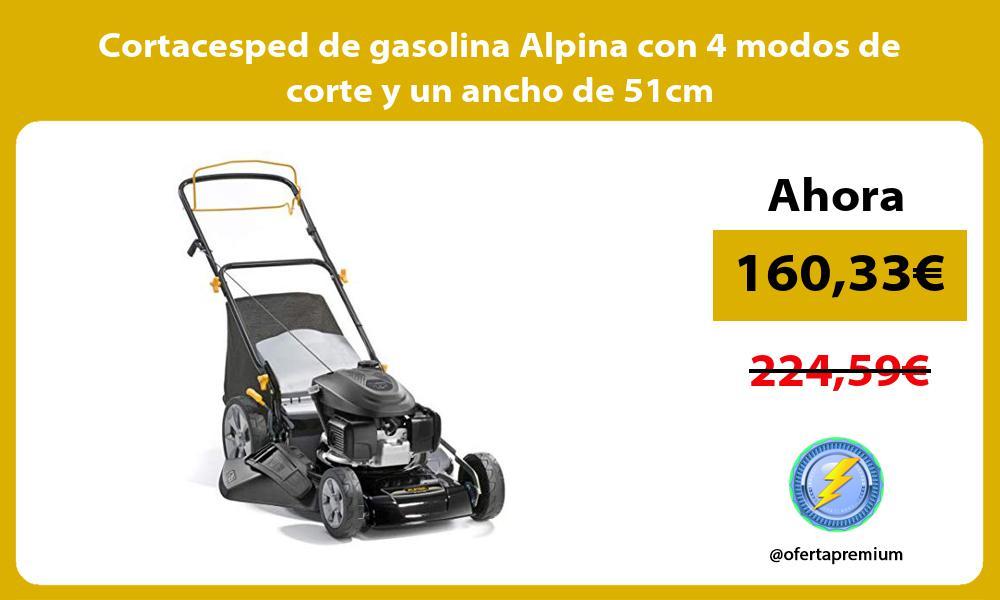 Cortacesped de gasolina Alpina con 4 modos de corte y un ancho de 51cm