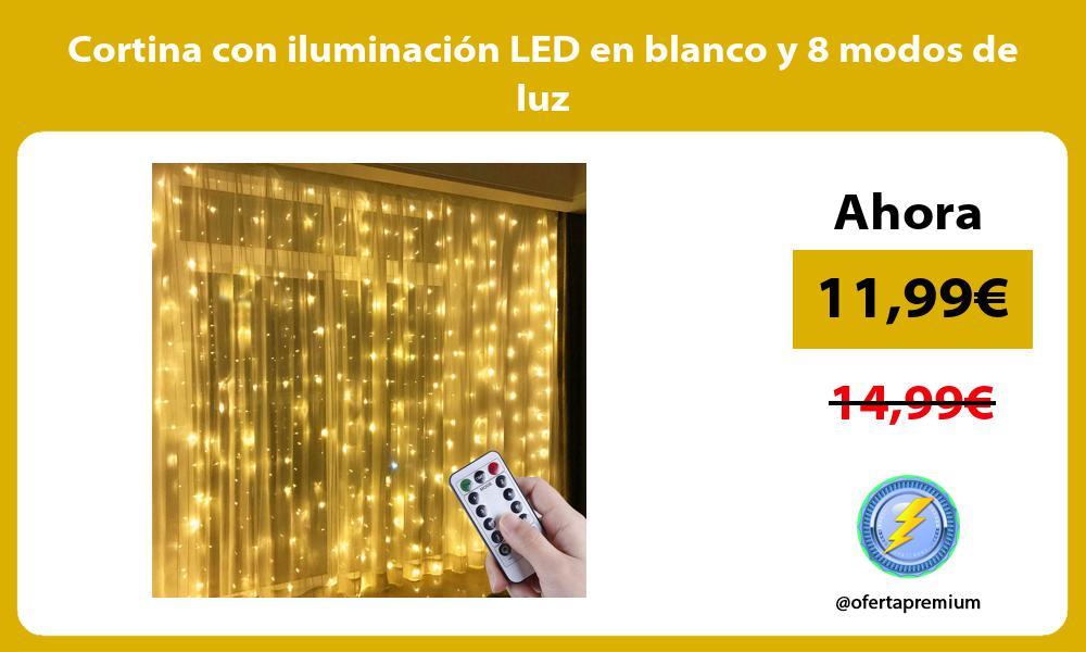 Cortina con iluminación LED en blanco y 8 modos de luz