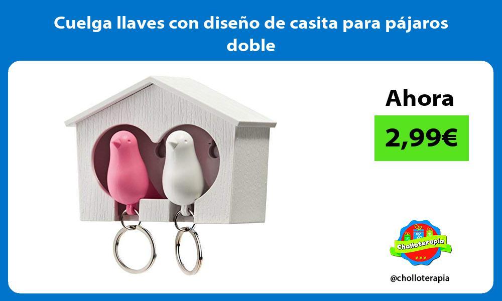 Cuelga llaves con diseño de casita para pájaros doble