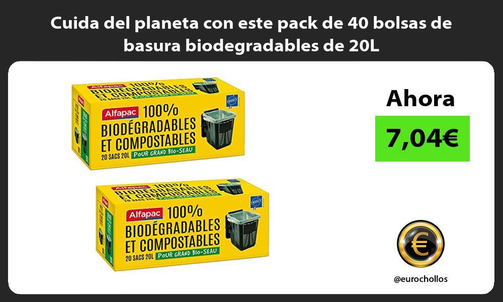 Cuida del planeta con este pack de 40 bolsas de basura biodegradables de 20L
