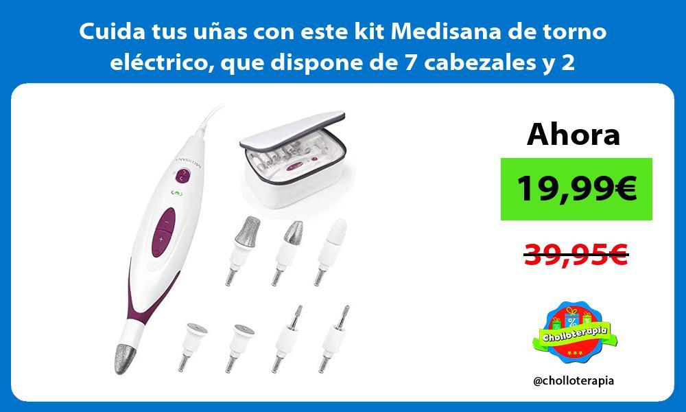 Cuida tus uñas con este kit Medisana de torno eléctrico que dispone de 7 cabezales y 2 velocidades