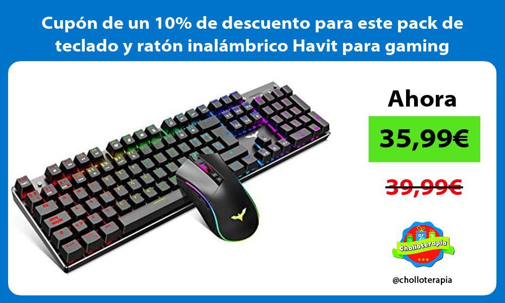 Cupón de un 10 de descuento para este pack de teclado y ratón inalámbrico Havit para gaming