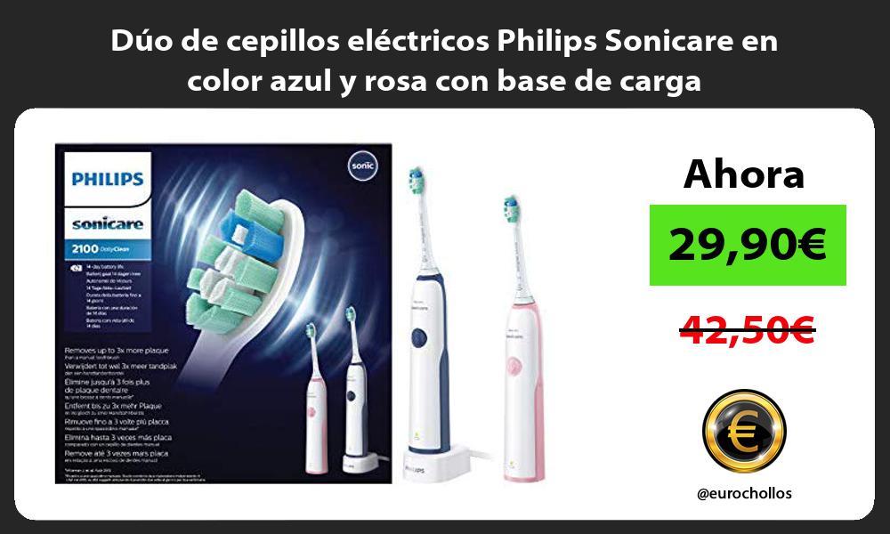 Dúo de cepillos eléctricos Philips Sonicare en color azul y rosa con base de carga