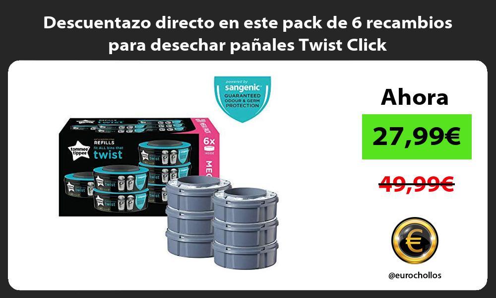 Descuentazo directo en este pack de 6 recambios para desechar pañales Twist Click