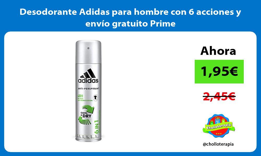 Desodorante Adidas para hombre con 6 acciones y envío gratuito Prime