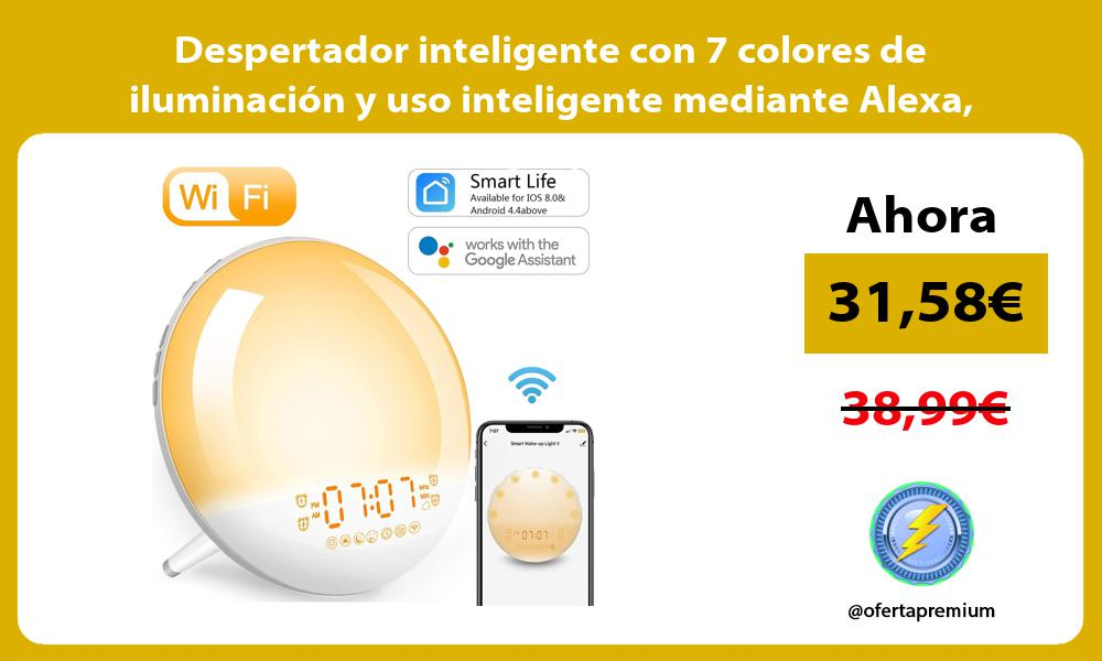 Despertador inteligente con 7 colores de iluminación y uso inteligente mediante Alexa Google y APP