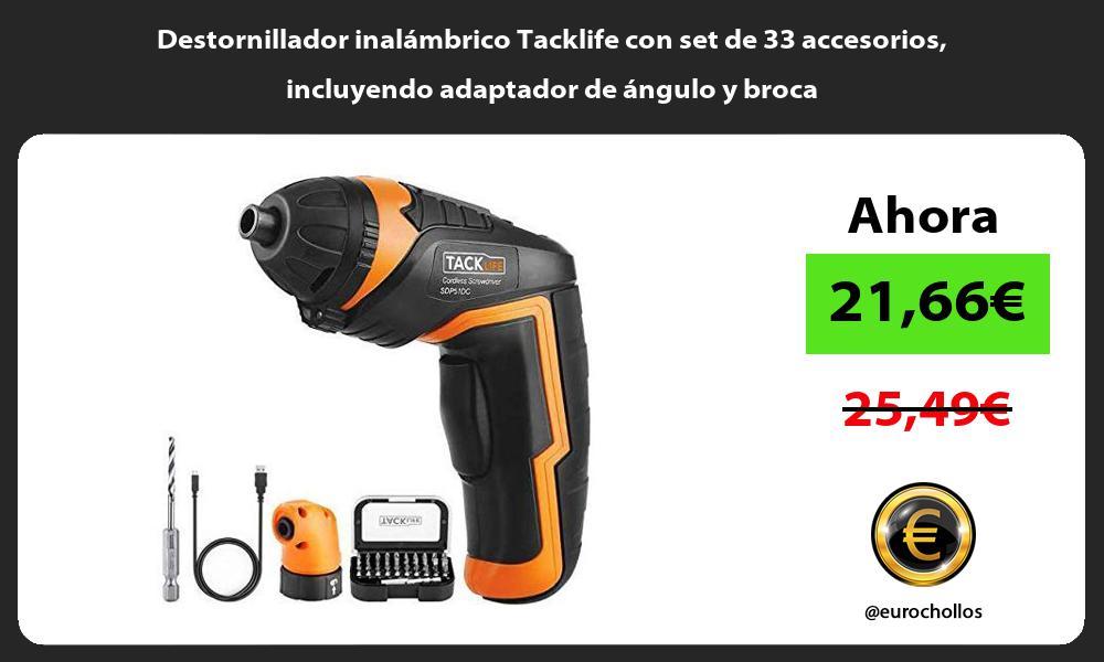 Destornillador inalámbrico Tacklife con set de 33 accesorios incluyendo adaptador de ángulo y broca