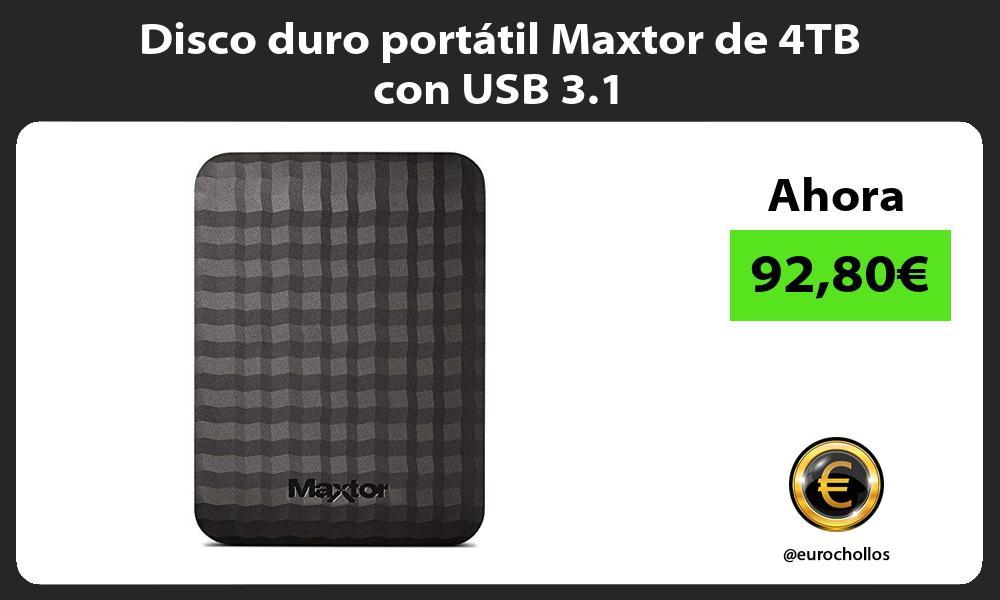Disco duro portátil Maxtor de 4TB con USB 3 1