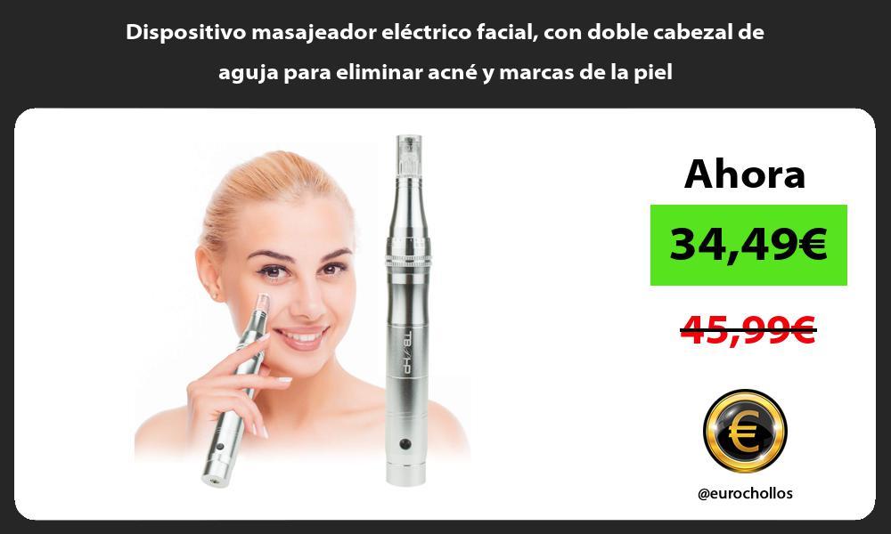 Dispositivo masajeador eléctrico facial con doble cabezal de aguja para eliminar acné y marcas de la piel