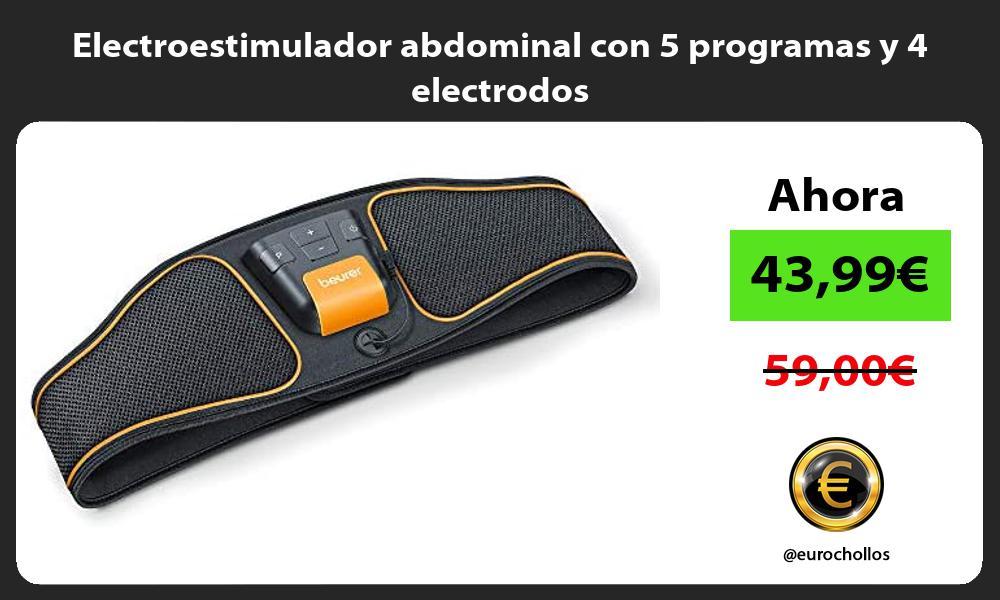 Electroestimulador abdominal con 5 programas y 4 electrodos