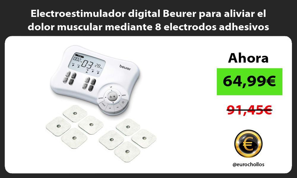 Electroestimulador digital Beurer para aliviar el dolor muscular mediante 8 electrodos adhesivos