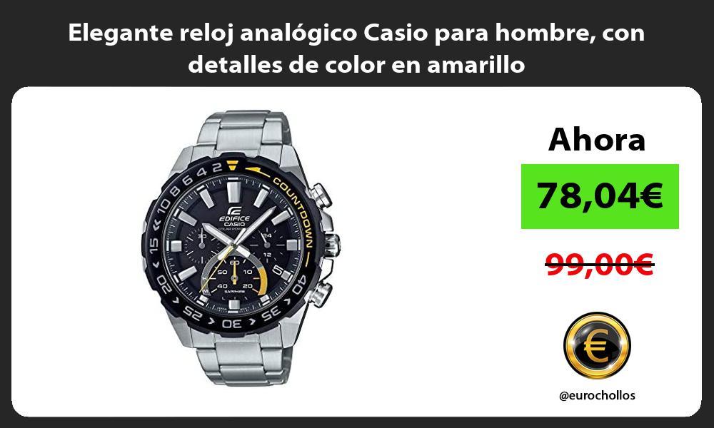 Elegante reloj analógico Casio para hombre con detalles de color en amarillo