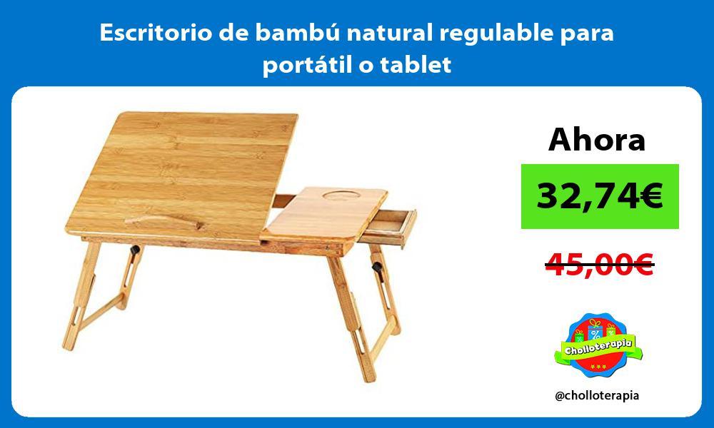 Escritorio de bambú natural regulable para portátil o tablet