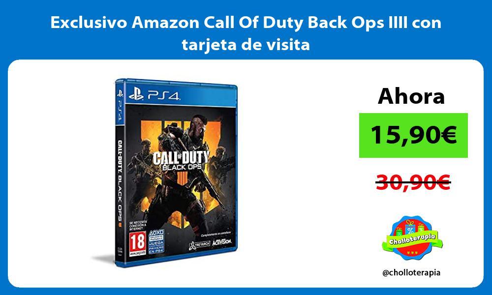 Exclusivo Amazon Call Of Duty Back Ops IIII con tarjeta de visita