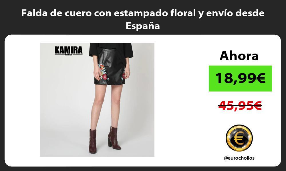 Falda de cuero con estampado floral y envío desde España