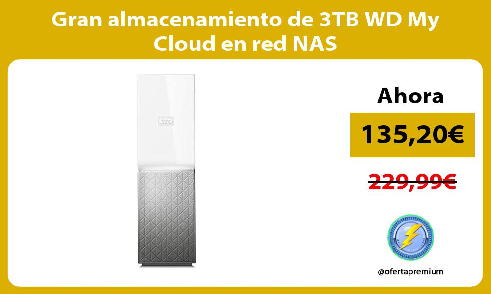 Gran almacenamiento de 3TB WD My Cloud en red NAS