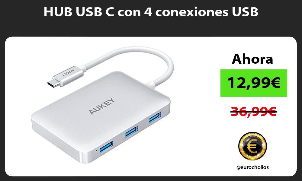 HUB USB C con 4 conexiones USB