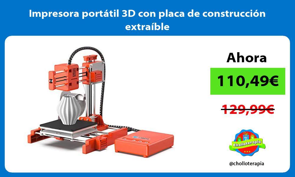 Impresora portátil 3D con placa de construcción extraíble