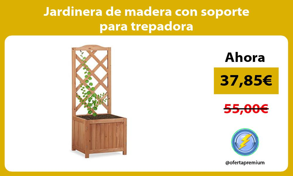 Jardinera de madera con soporte para trepadora