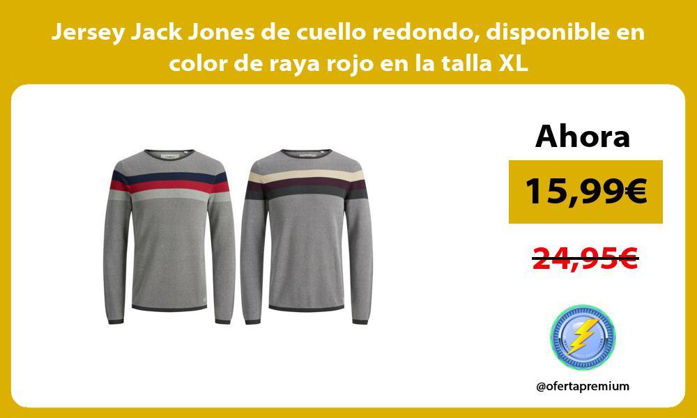 Jersey Jack Jones de cuello redondo disponible en color de raya rojo en la talla XL