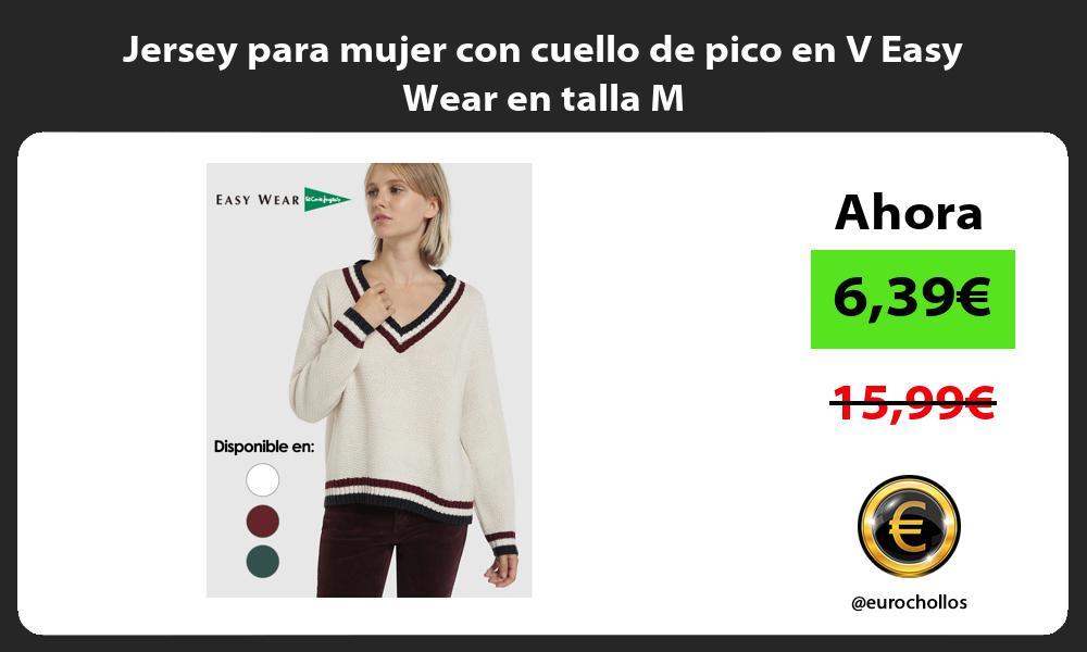 Jersey para mujer con cuello de pico en V Easy Wear en talla M