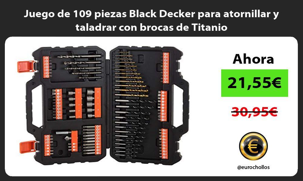 Juego de 109 piezas Black Decker para atornillar y taladrar con brocas de Titanio