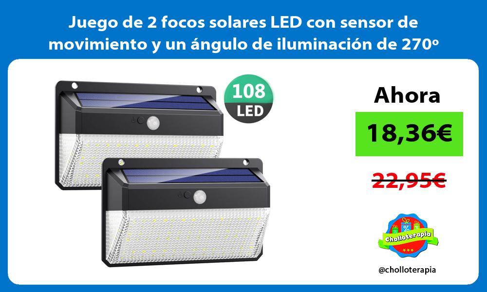 Juego de 2 focos solares LED con sensor de movimiento y un ángulo de iluminación de 270º
