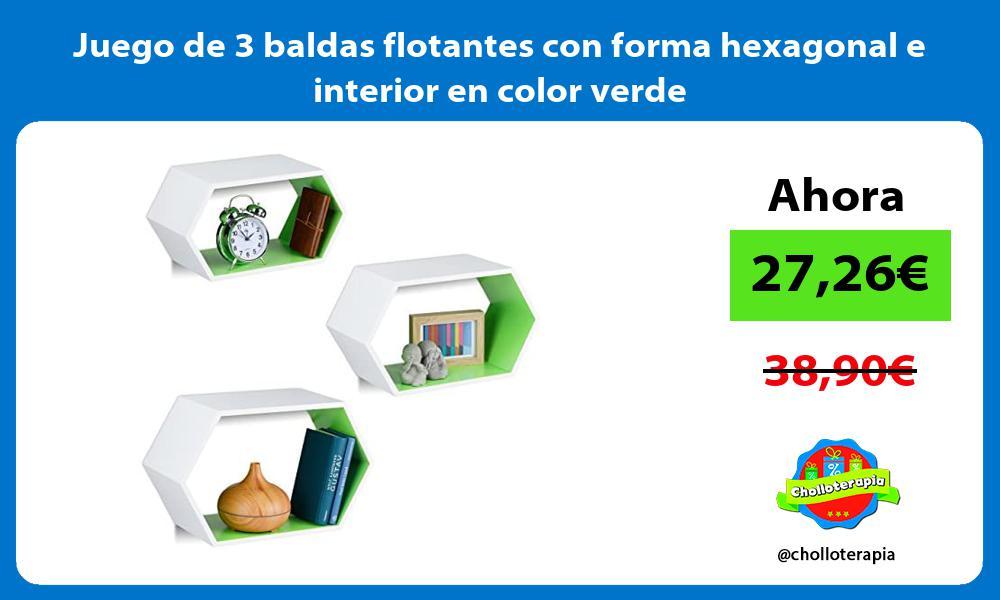 Juego de 3 baldas flotantes con forma hexagonal e interior en color verde