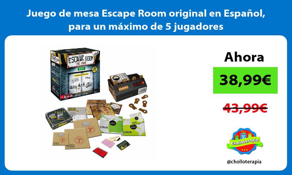 Juego de mesa Escape Room original en Español para un máximo de 5 jugadores