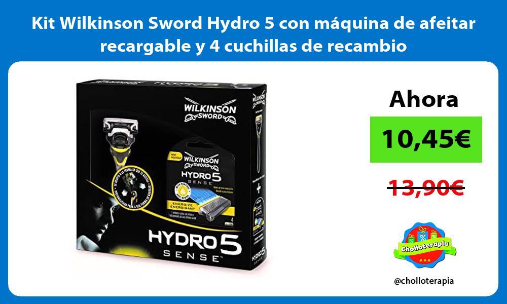 Kit Wilkinson Sword Hydro 5 con máquina de afeitar recargable y 4 cuchillas de recambio