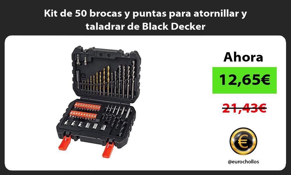 Kit de 50 brocas y puntas para atornillar y taladrar de Black Decker