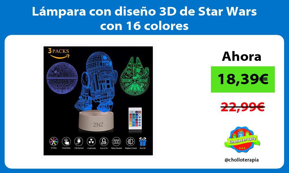 Lámpara con diseño 3D de Star Wars con 16 colores