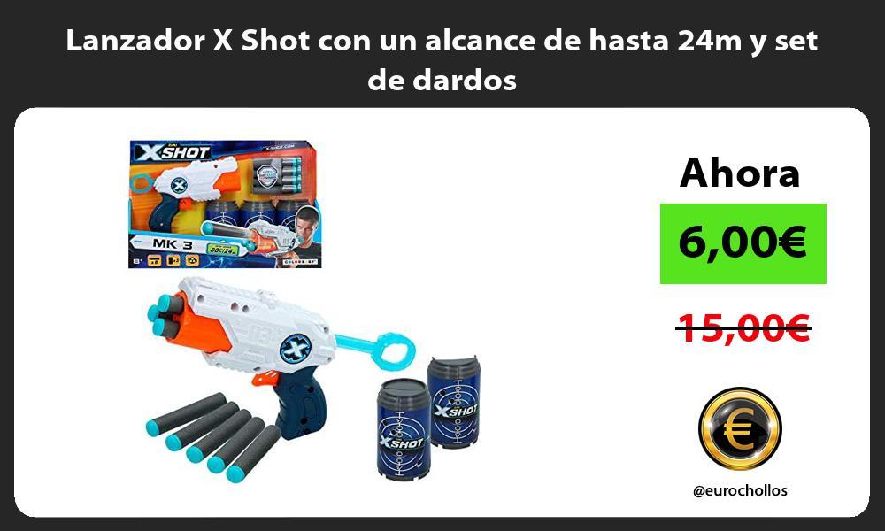 Lanzador X Shot con un alcance de hasta 24m y set de dardos