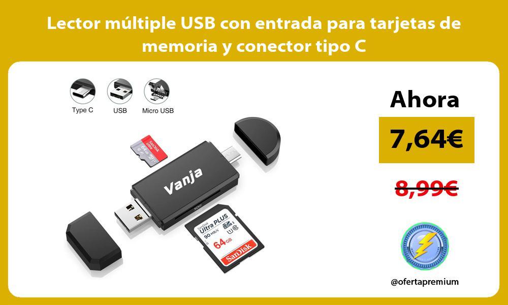 Lector múltiple USB con entrada para tarjetas de memoria y conector tipo C