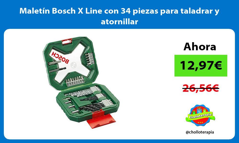 Maletín Bosch X Line con 34 piezas para taladrar y atornillar