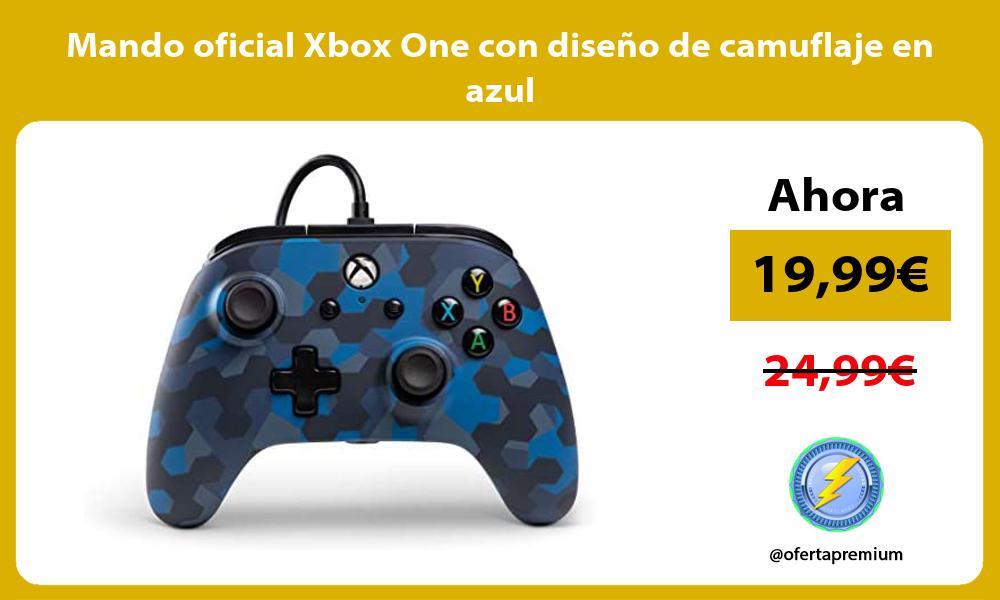 Mando oficial Xbox One con diseño de camuflaje en azul