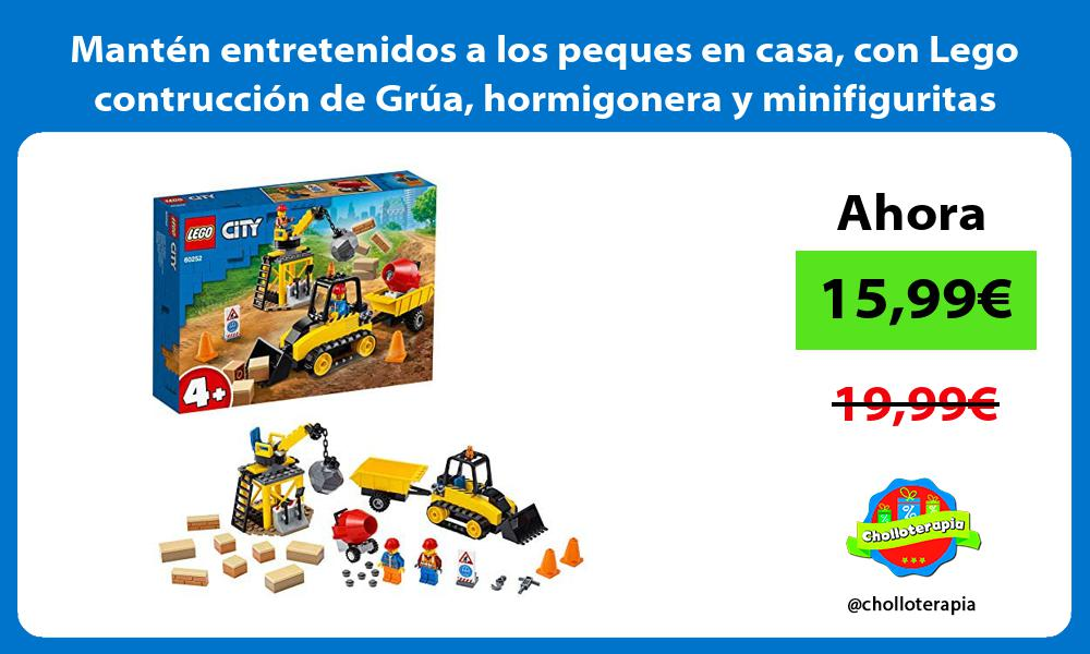 Mantén entretenidos a los peques en casa con Lego contrucción de Grúa hormigonera y minifiguritas