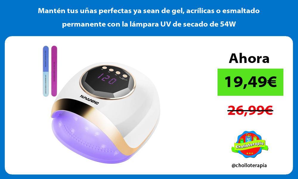 Mantén tus uñas perfectas ya sean de gel acrílicas o esmaltado permanente con la lámpara UV de secado de 54W
