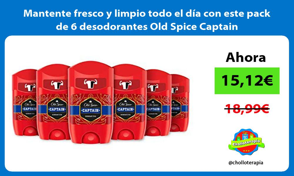 Mantente fresco y limpio todo el día con este pack de 6 desodorantes Old Spice Captain