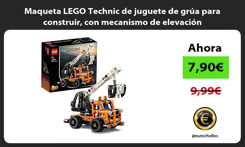 Maqueta LEGO Technic de juguete de grúa para construir con mecanismo de elevación