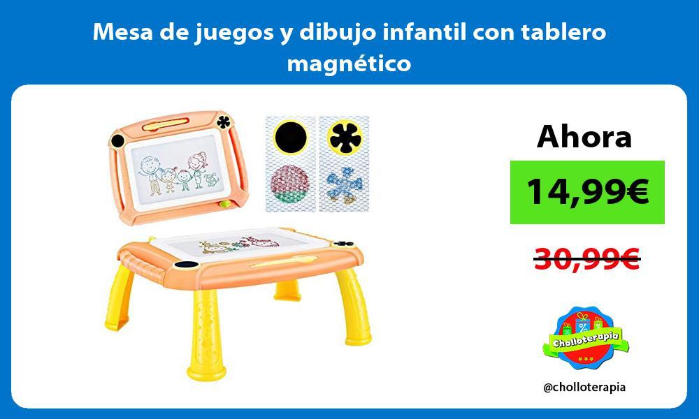 Mesa de juegos y dibujo infantil con tablero magnético
