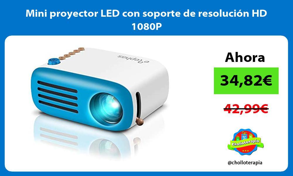 Mini proyector LED con soporte de resolución HD 1080P