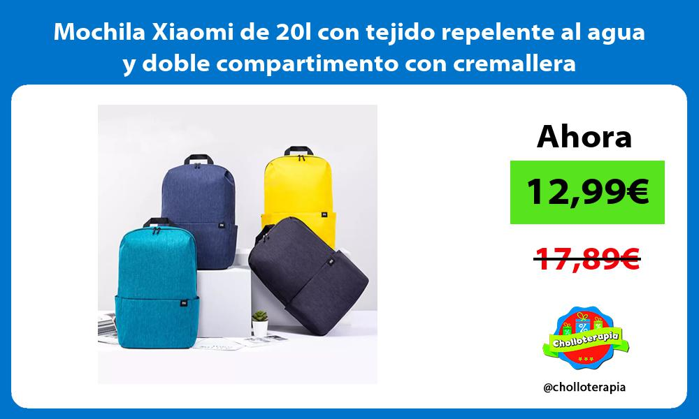 Mochila Xiaomi de 20l con tejido repelente al agua y doble compartimento con cremallera